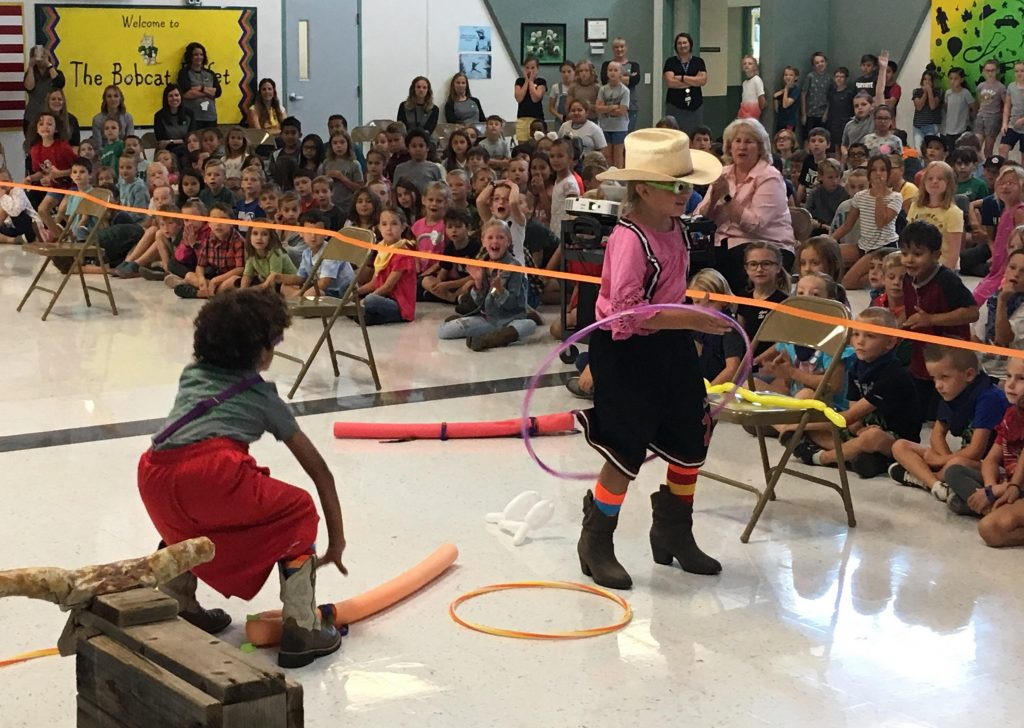 Students playing rodeo games