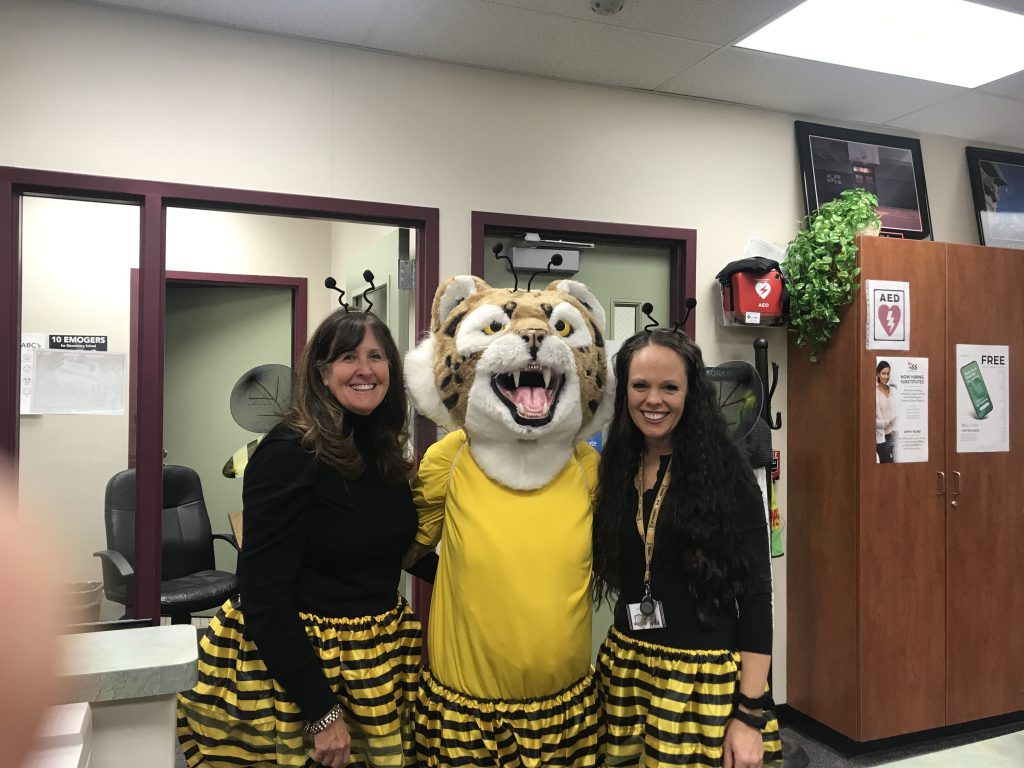 Mrs. North, Bob the Bobcat and Mrs. Steiner in bee costumes