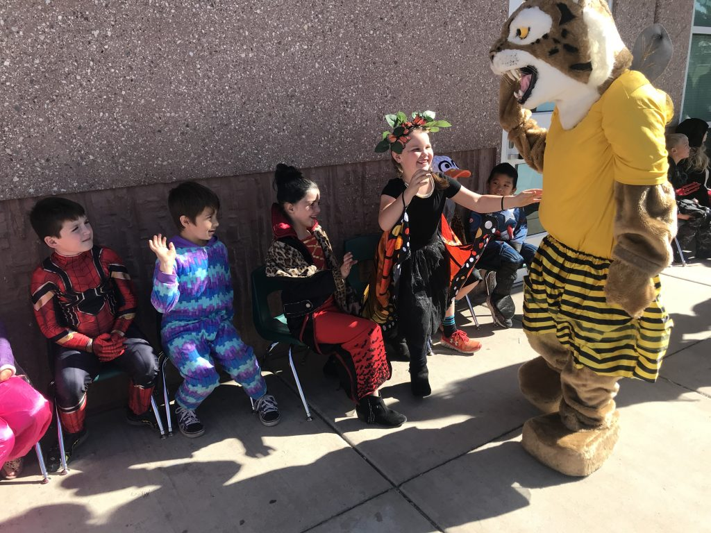 Bob the Bobcats High 5's students in costume