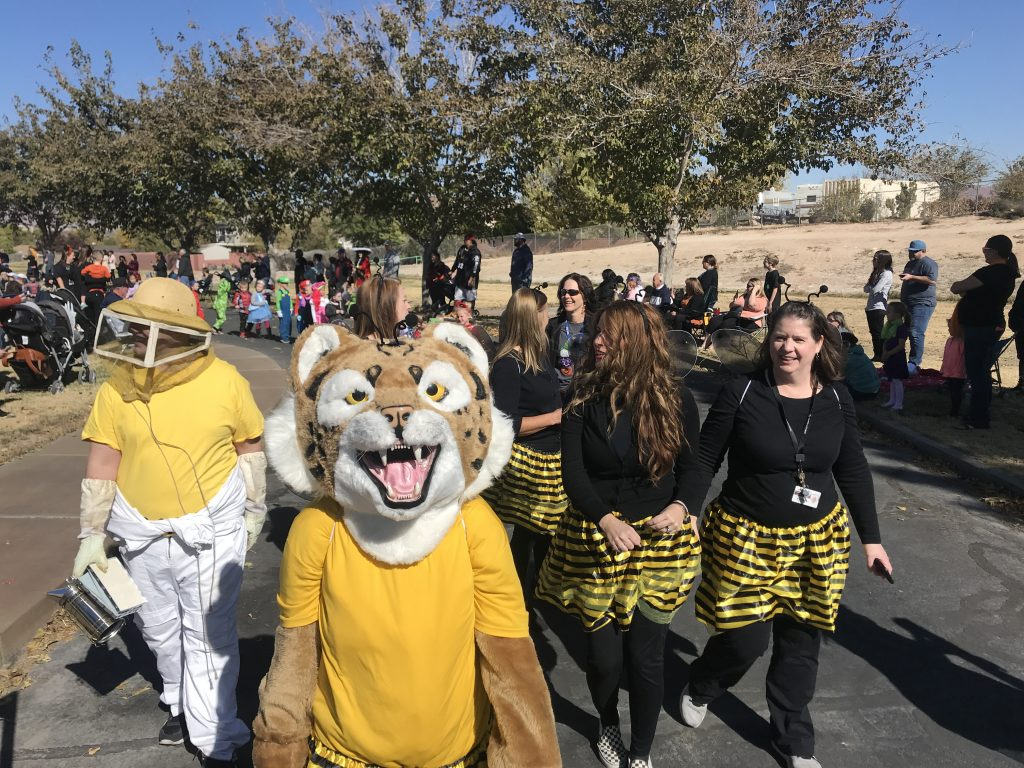 Bob the Bobcat, teachers and students in costume